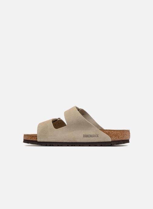 Sandales et nu-pieds Birkenstock Arizona Cuir Suede Soft Footbed M Marron vue face
