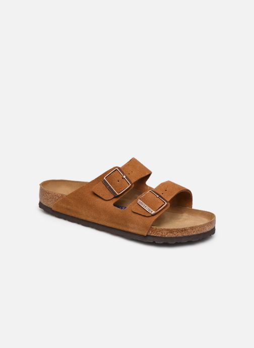 Sandales et nu-pieds Birkenstock Arizona Cuir Suede Soft Footbed M Marron vue détail/paire