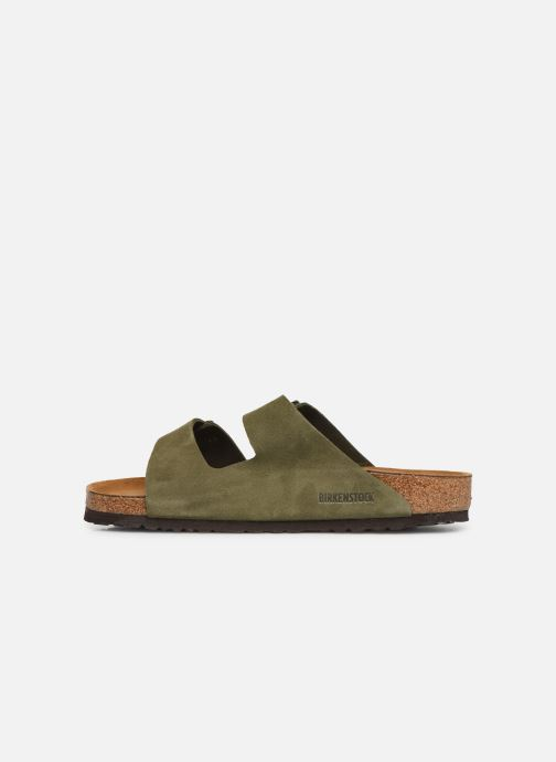 Sandales et nu-pieds Birkenstock Arizona Cuir Suede Soft Footbed M Vert vue face