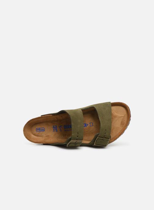 Sandales et nu-pieds Birkenstock Arizona Cuir Suede Soft Footbed M Vert vue gauche