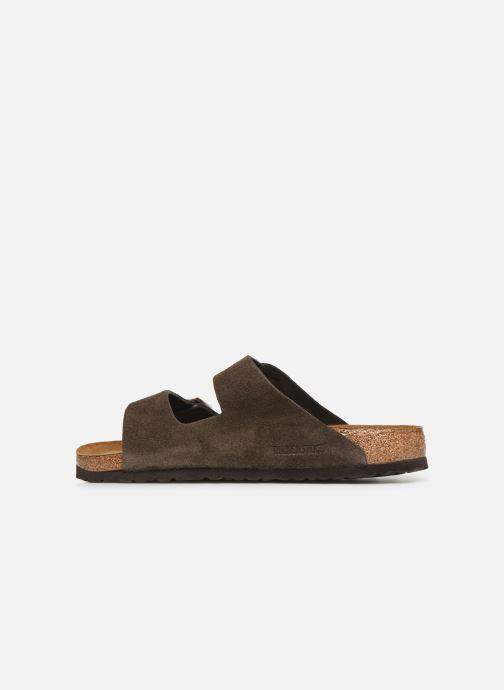 Sandals Birkenstock Arizona Cuir Suede Soft Footbed M Grey front view