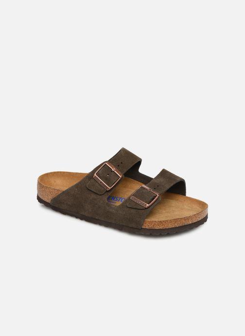 Sandals Birkenstock Arizona Cuir Suede Soft Footbed M Grey detailed view/ Pair view