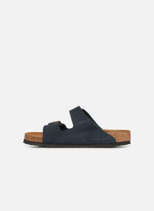 Sandales et nu-pieds Birkenstock Arizona Cuir Suede Soft Footbed M Bleu vue face