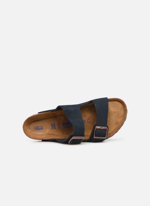 Sandalen Birkenstock Arizona Cuir Suede Soft Footbed M Blauw links