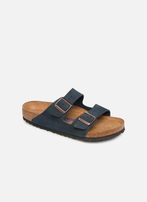 Sandales et nu-pieds Birkenstock Arizona Cuir Suede Soft Footbed M Bleu vue détail/paire