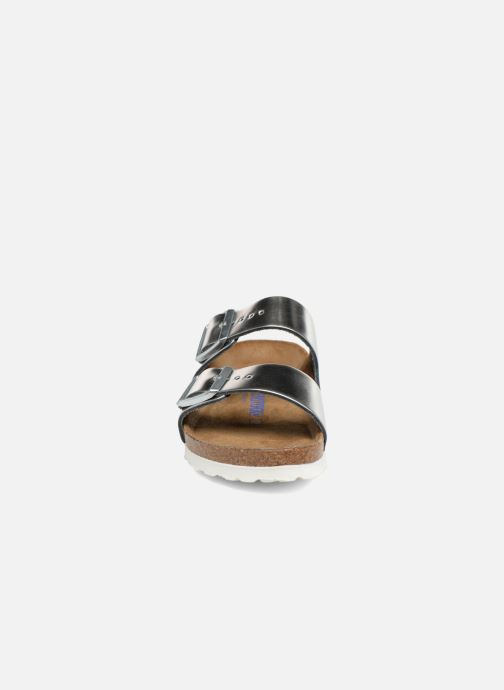Clogs & Pantoletten Birkenstock Arizona Cuir Soft Footbed W silber schuhe getragen