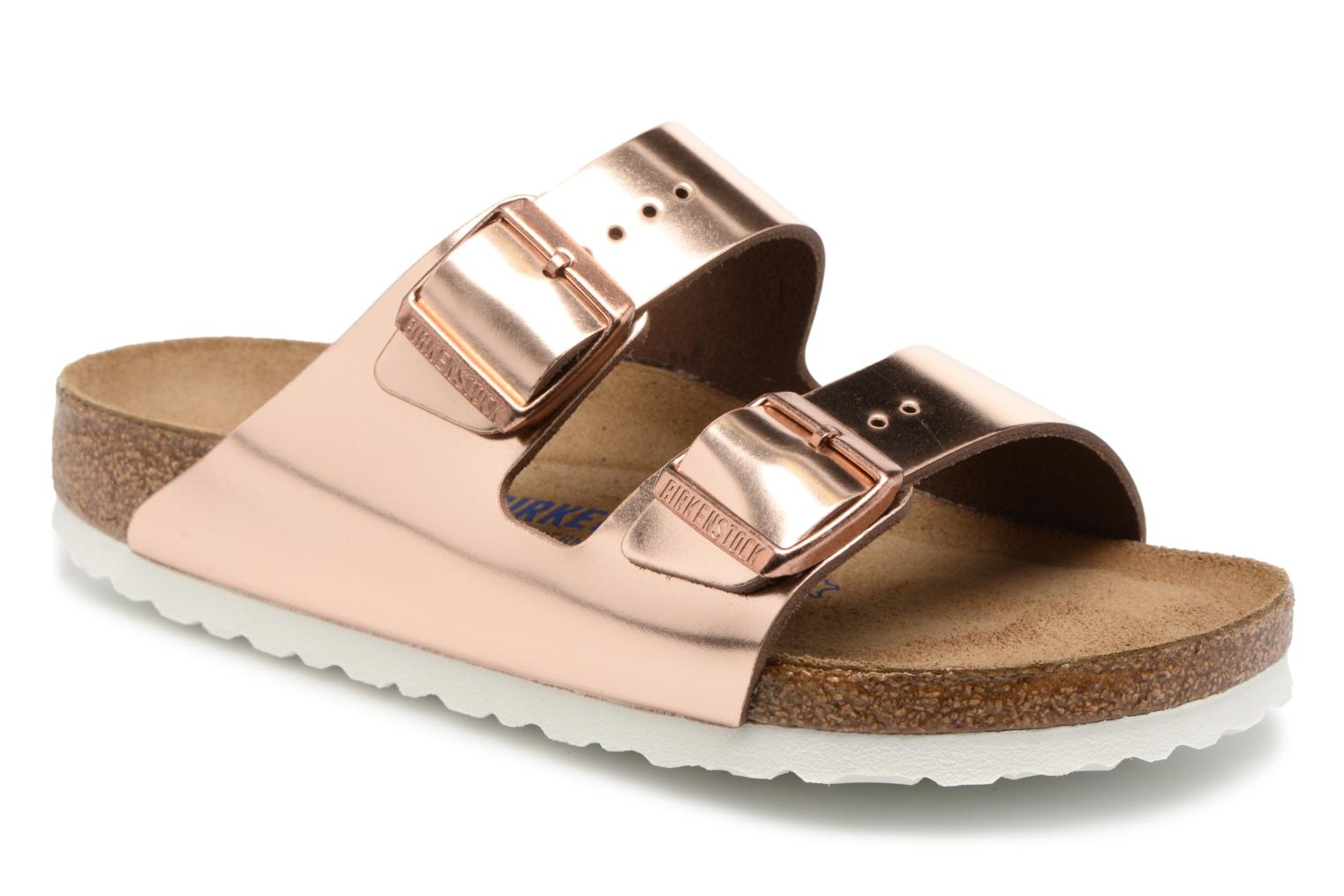 Mules & clogs Birkenstock Arizona Cuir Soft Footbed W Bronze and Gold detailed view/ Pair view