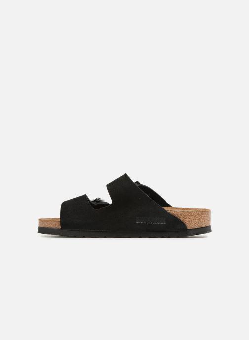 Clogs & Pantoletten Birkenstock Arizona Cuir Suede Soft Footbed W schwarz ansicht von vorne