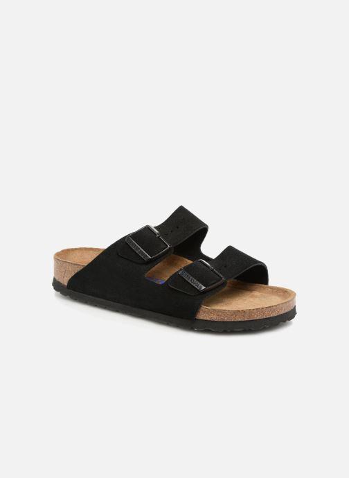 Clogs & Pantoletten Birkenstock Arizona Cuir Suede Soft Footbed W schwarz detaillierte ansicht/modell