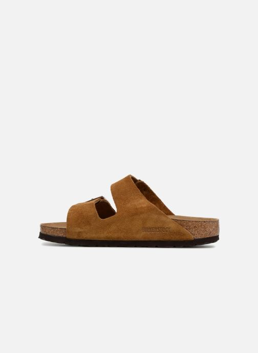 Mules et sabots Birkenstock Arizona Cuir Suede Soft Footbed W Marron vue face
