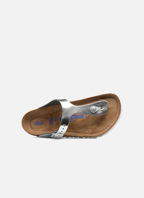 Sandalias Birkenstock Gizeh Cuir Soft Footbed W Plateado vista lateral izquierda
