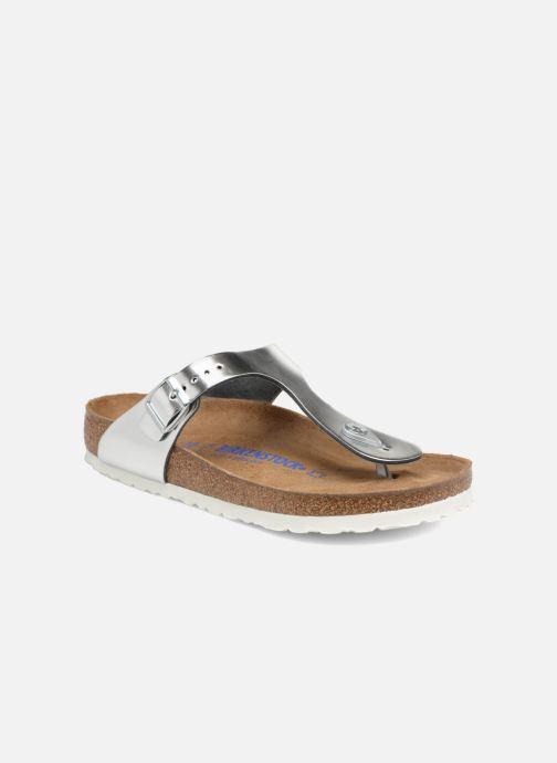 Sandalias Birkenstock Gizeh Cuir Soft Footbed W Plateado vista de detalle / par