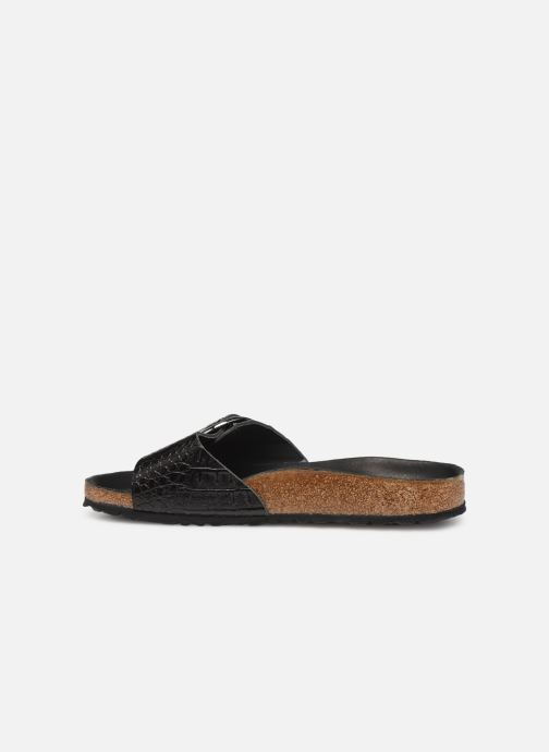 Zuecos Birkenstock Madrid Big Buckle Negro vista de frente