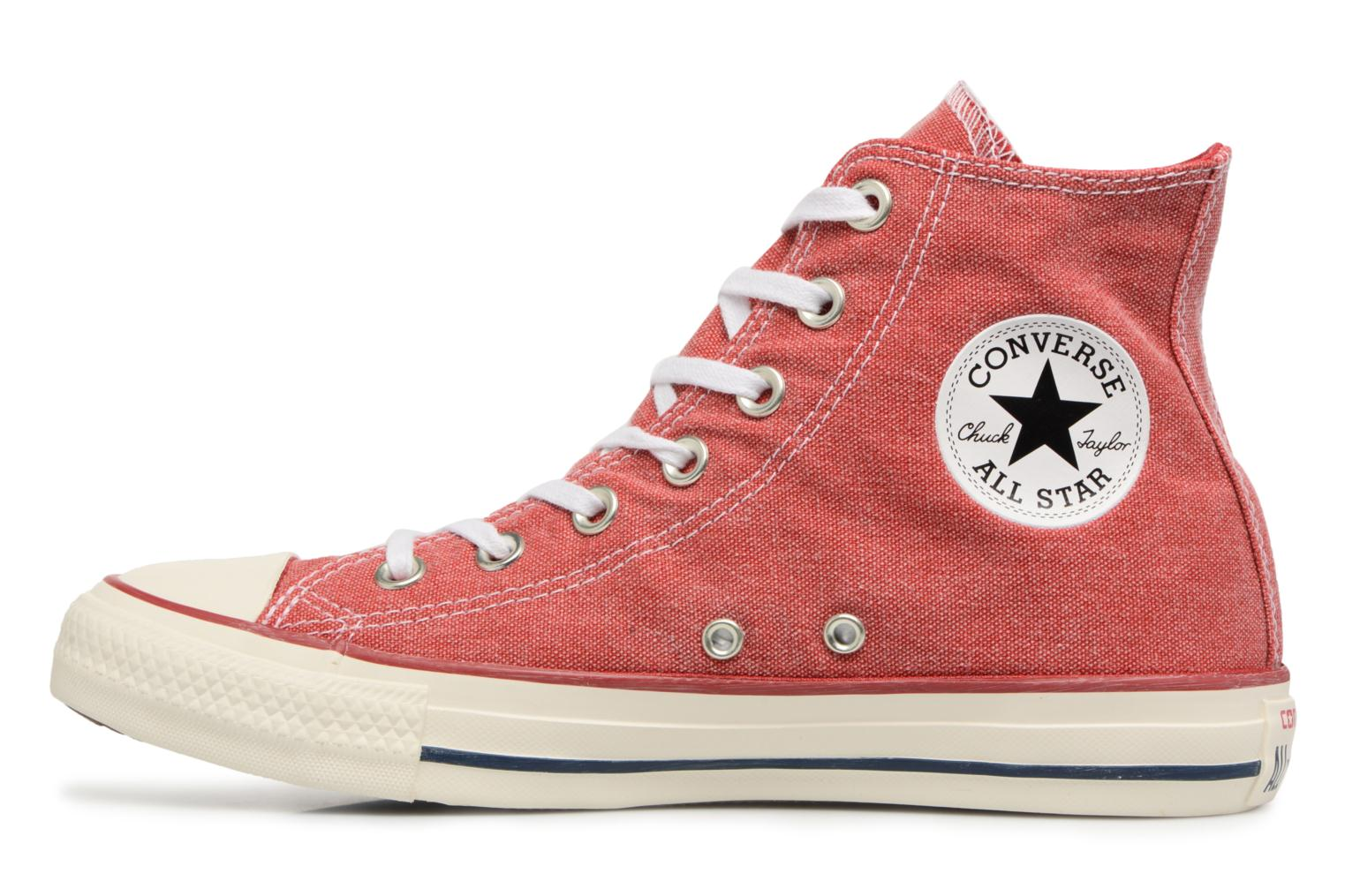 Baskets Converse Chuck Taylor All Star Stone Wash Hi W Rouge vue face