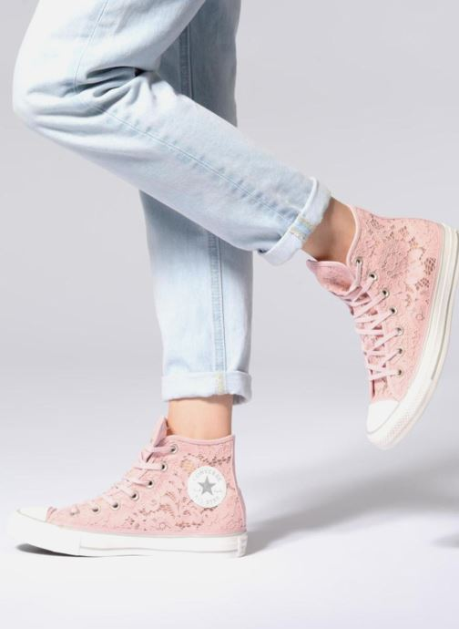 224e31d27a1c Trainers Converse Chuck Taylor All Star Flower Lace Hi Pink view from  underneath   model view