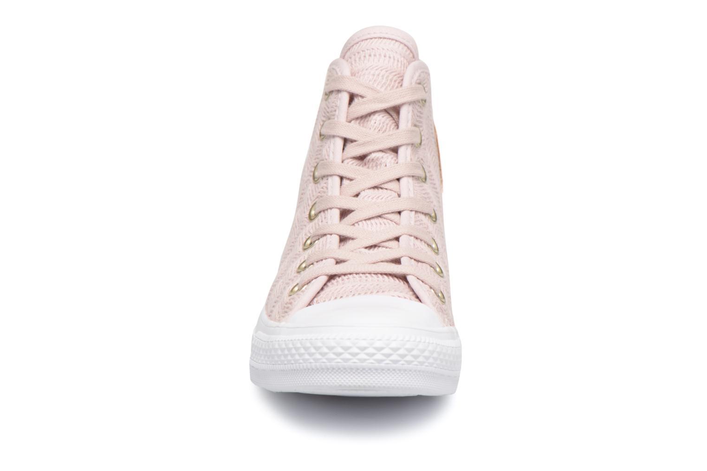 Sneakers Converse Chuck Taylor All Star Herringbone Mesh Hi Rosa modello indossato