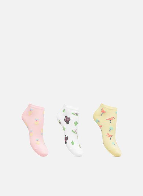 Chaussettes et collants Sarenza Wear Chaussettes Invisibles Femme Pack de 3  Ananas, Cactus Flamant & Rose Coton Multicolore vue détail/paire