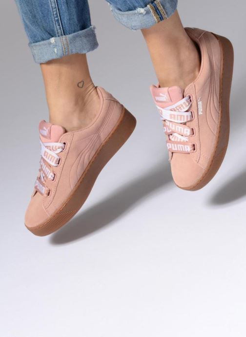 ca2e1440a95810 Trainers Puma Puma Vikky Platform Ribbon Bold Pink view from underneath    model view