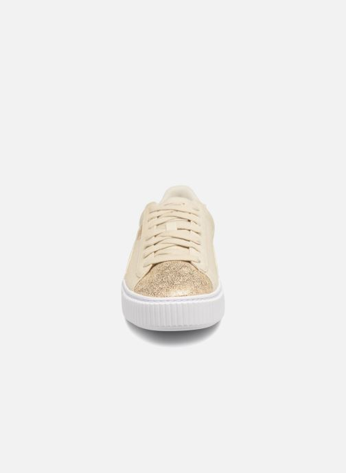 Baskets Puma Basket Platform Canvas Wn's Or et bronze vue portées chaussures