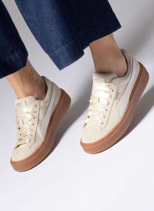 Sneaker Puma Suede Platform Bubble Wn's grau ansicht von unten / tasche getragen