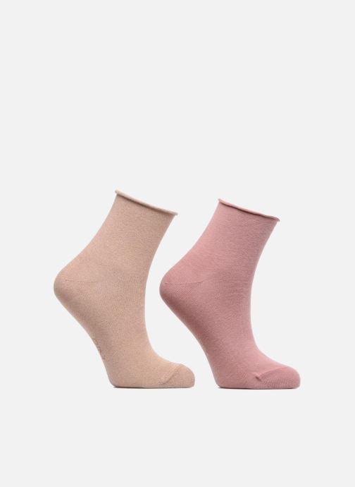 Chaussettes et collants Dim Socquettes COTON STYLE EFFECT BRILLANT X2 Beige  vue détail paire f3312a100cf