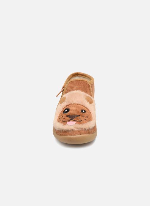 Chaussons Little Mary LionZip Marron vue portées chaussures