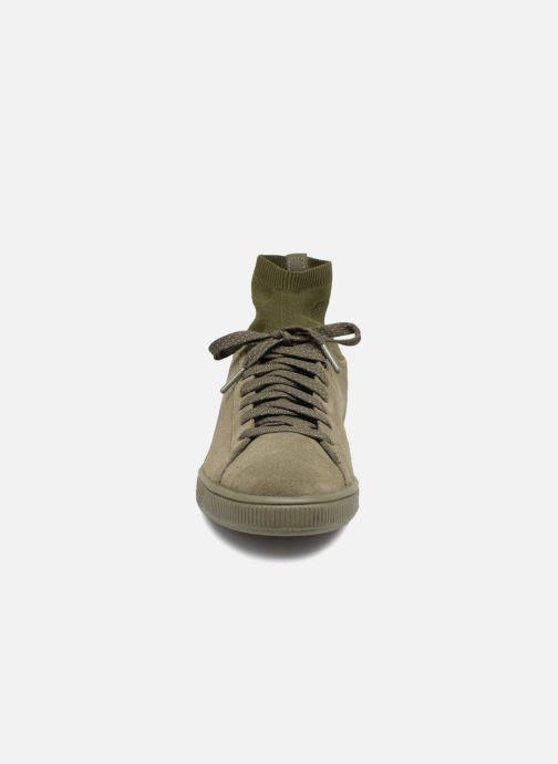 Sneaker Puma Suede Classic Sock grün schuhe getragen