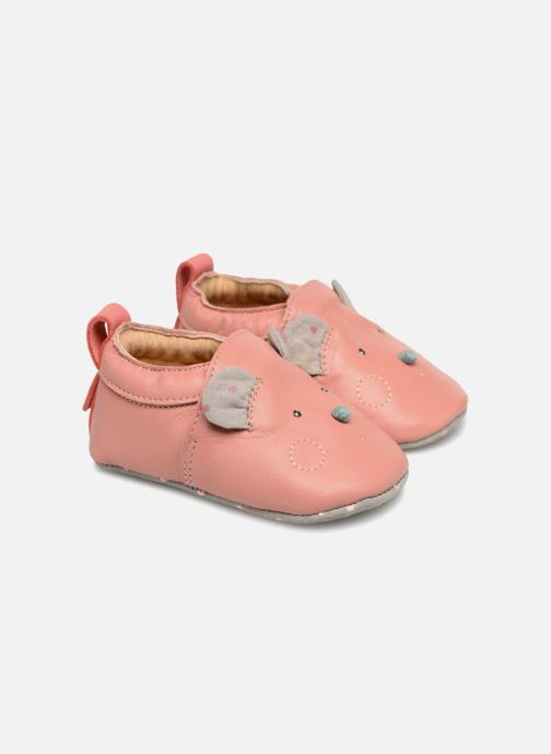 Chaussons Babybotte Sourirose - Moulin Roty Rose vue détail/paire