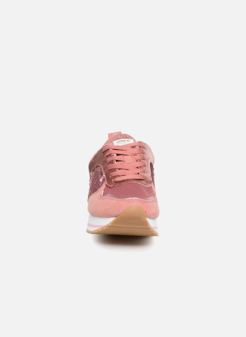 Baskets ONLY onlSMILLA ELEVATED GLITTER SNEAKER Rose vue portées chaussures