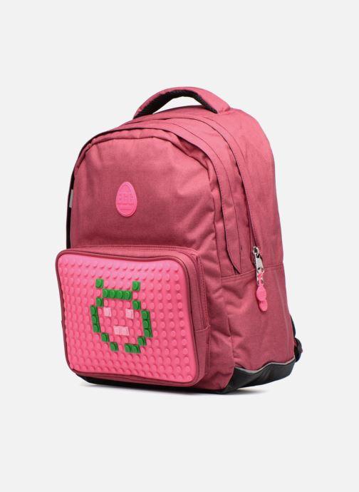 Per la scuola Eggmania by DDP Double Backpack Rosa modello indossato