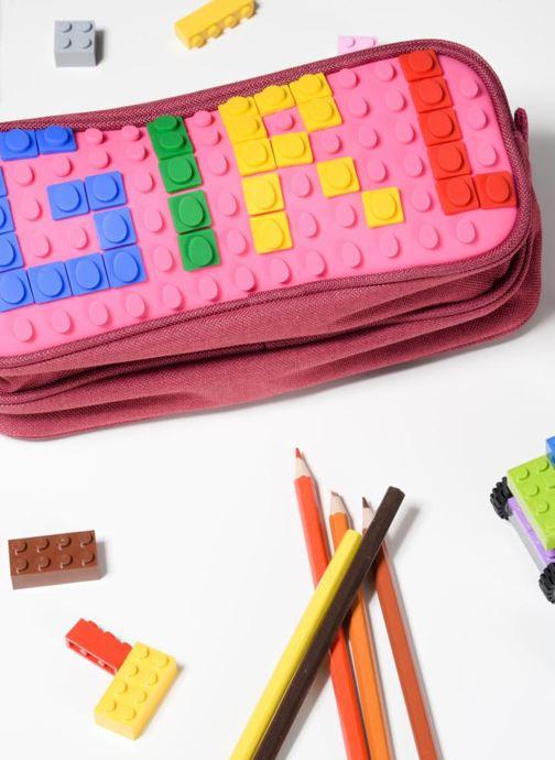 Per la scuola Eggmania by DDP Double Pencil Case Rosa immagine dal basso