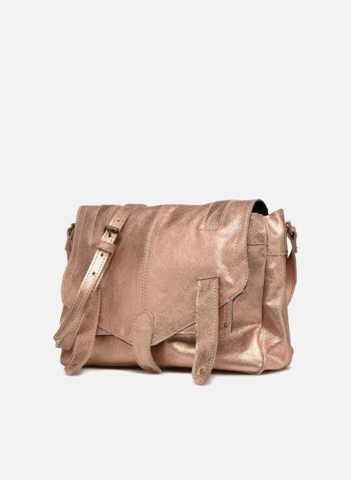 Sacs à main Pieces Joy Leather Bag Or et bronze vue portées chaussures