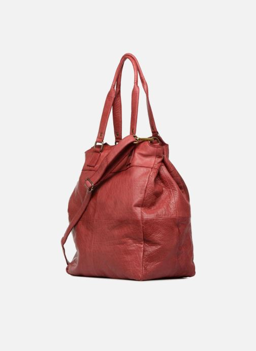 Handbags Pieces Felisha Leather Shopper Burgundy view from the right