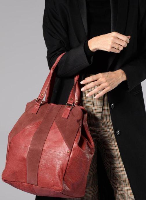 Handbags Pieces Felisha Leather Shopper Burgundy view from above