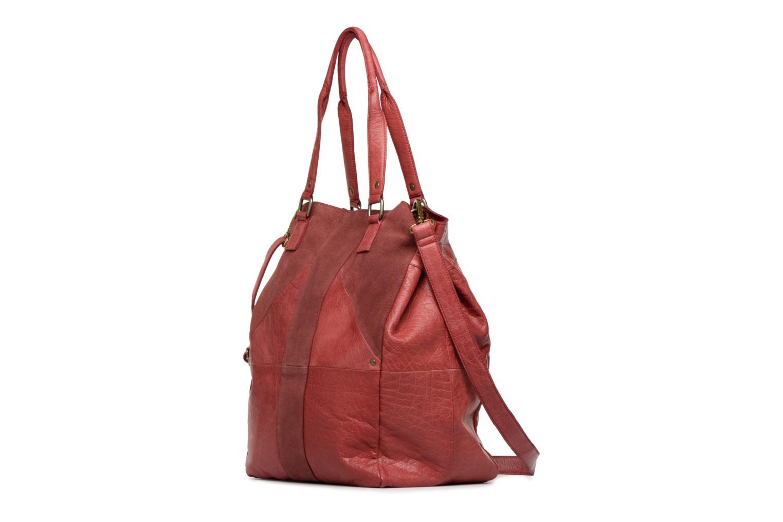 Handbags Pieces Felisha Leather Shopper Burgundy model view