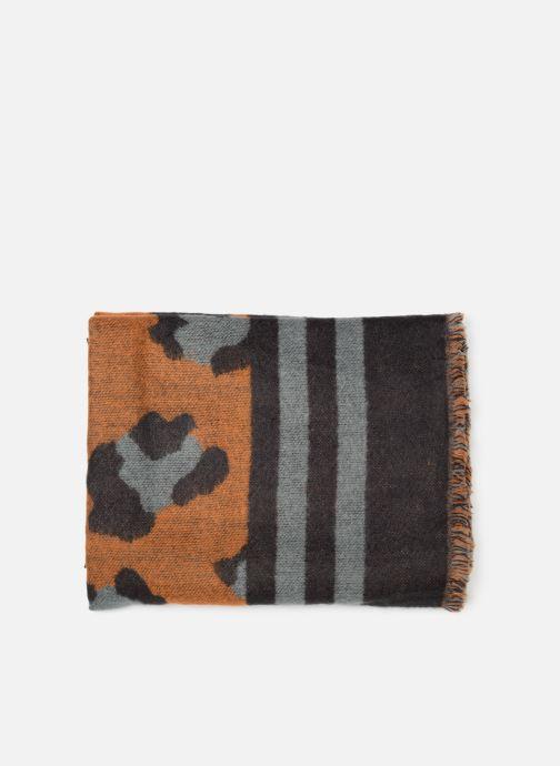 Sciarpa y foulard Pieces Fleo Square Scarf Marrone modello indossato