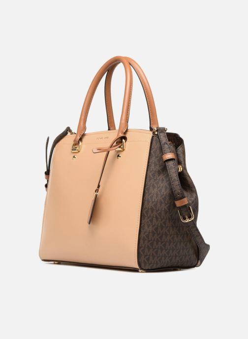 Handbags Michael Michael Kors BENNING LG SATCHEL Brown model view