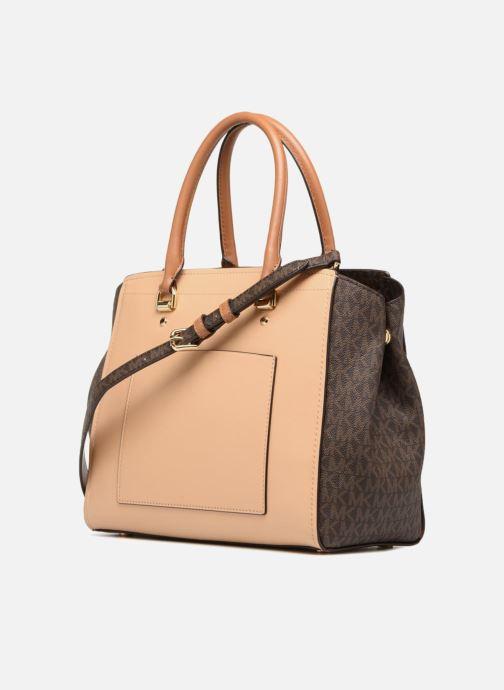 Handbags Michael Michael Kors BENNING LG SATCHEL Brown view from the right