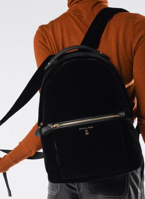Rugzakken Michael Michael Kors Nylon Velours Kelsey LG Backpack Zwart boven