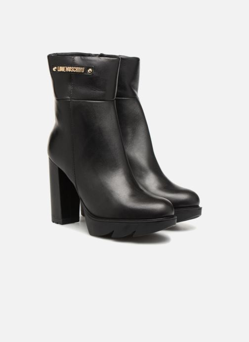 Bottines et boots Love Moschino Ankle Boot Gold metal detail Noir vue 3/4