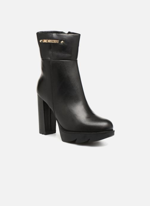 Botines  Love Moschino Ankle Boot Gold metal detail Negro vista de detalle / par