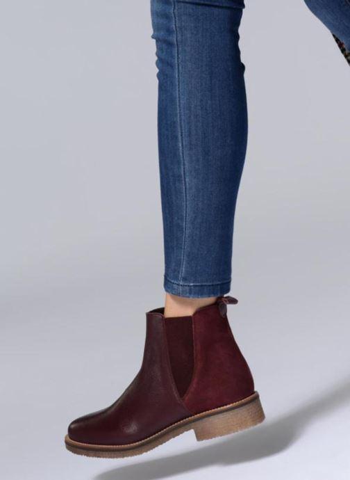 Bottines et boots Georgia Rose Acrepou Bordeaux vue bas / vue portée sac