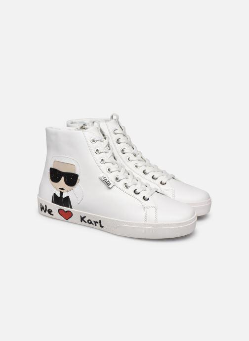 Baskets Karl Lagerfeld Skool Karl Ikonic Hi Lace Blanc vue 3/4