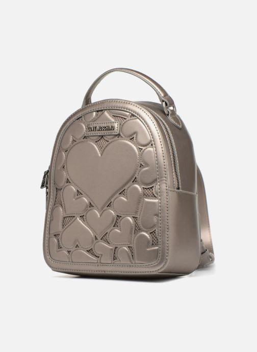 Zaini Love Moschino Sac à dos Metallic Love Argento modello indossato
