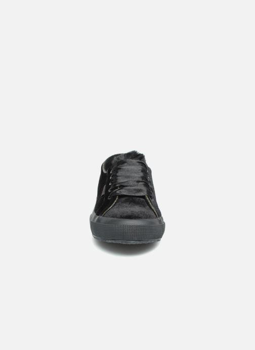 Sneakers Superga 2750 Velvet Chenille Cofur Glitter W Nero modello indossato