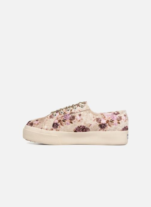 Baskets Superga 2730 Velvet Shiny Wrinkled Flo Beige vue face