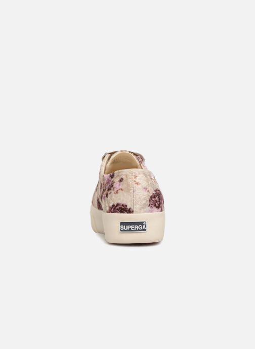 Baskets Superga 2730 Velvet Shiny Wrinkled Flo Beige vue droite