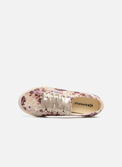 Baskets Superga 2730 Velvet Shiny Wrinkled Flo Beige vue gauche