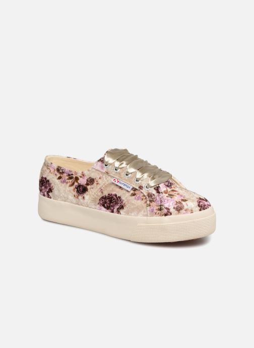 Baskets Superga 2730 Velvet Shiny Wrinkled Flo Beige vue détail/paire