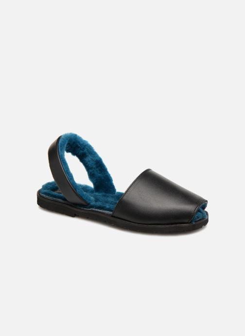 Sandales et nu-pieds Minorquines Mouton Samsø Bleu Noir vue détail/paire